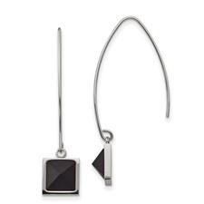 Stainless Steel Polished w/Blk Carbon Fiber Dangle Shepherd Hook Earrings