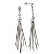 Stainless Steel Polished Multi Bar Front & Back Post Dangle Earrings