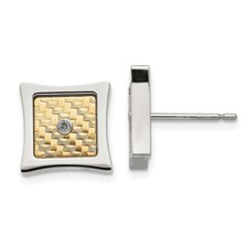Stainless Steel w/ 18k gold accent .03ct Diamond Square Post Earrings