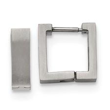 Stainless Steel Brushed Square Hoop Earrings