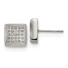 Stainless Steel Polished with 1/4ct. Diamond Square Post Earrings