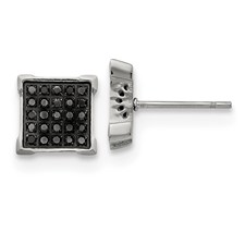 Stainless Steel Polished with 1/4ct. Black Diamond Square Post Earrings