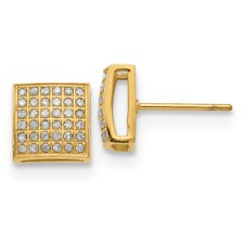 Stainless Steel Polished Yellow IP w/ 3/8ct. Diamond Square Post Earrings