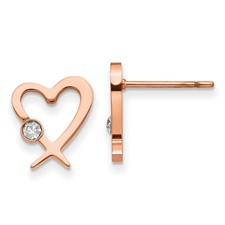 Stainless Steel Polished Rose IP-plated w/Crystal Heart Post Earrings