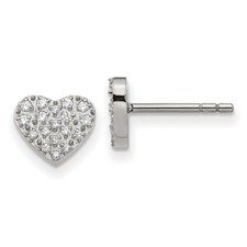 Stainless Steel Polished with CZ Heart Post Earrings