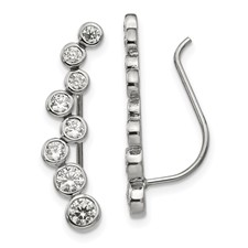 Stainless Steel Polished with CZ Ear Climbers