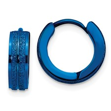 Stainless Steel Blue IP-Plated Laser cut Hinged Hoop Earrings