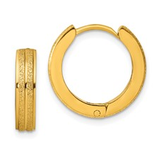 Stainless Steel Yellow IP-plated Laser cut Hinged Hoop Earrings
