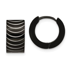 Stainless Steel Black IP-Plated Hinged Hoop Earrings
