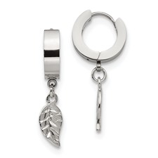 Stainless Steel Feather Hinged Hoop Earrings