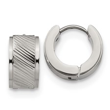Stainless Steel Patterned Hinged Hoop Earrings