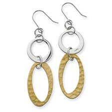 Chisel Stainless Steel Gold Plated Circles Link Earrings