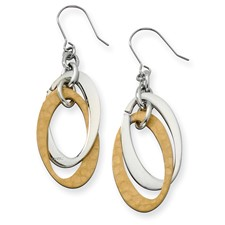 Chisel Stainless Steel Gold Plated Dangle Earrings
