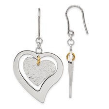 Chisel Stainless Steel Heart Dangle Earrings
