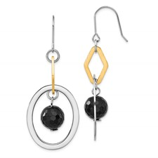 Chisel Stainless Steel Gold-plated and Polished Circles Onyx Earrings