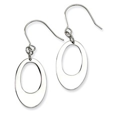 Chisel Stainless Steel Polished Cutout Oval Dangle Earrings