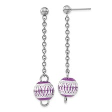 Chisel Stainless Steel Purple Diamond Cut Beads Post Dangle Earrings