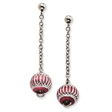 Chisel Stainless Steel Red Diamond Cut Beads Post Dangle Earrings