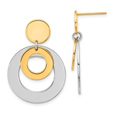 Chisel Stainless Steel 24k Plated Circle Post Dangle Earrings
