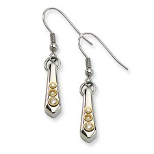 Chisel Stainless Steel Polished and Gold-plated Teardrop CZ Dangle Earrings