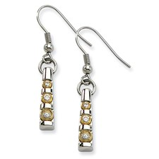 Chisel Stainless Steel Polished and Gold-plated CZ Dangle Earrings