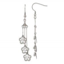 Chisel Stainless Steel Clovers CZ Stones Dangle Earrings