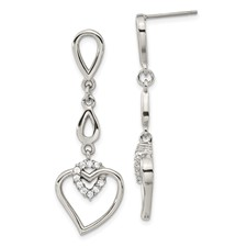 Chisel Stainless Steel Polished Teardrops and Heart CZ Heart Post Dangle Earrings