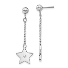 Chisel Stainless Steel Polished Stars CZ Post Dangle Earrings