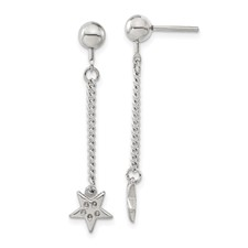 Chisel Stainless Steel Polished Star CZ Post Dangle Earrings