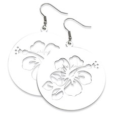 Chisel Stainless Steel Polished Hibisucs Cutout Earrings