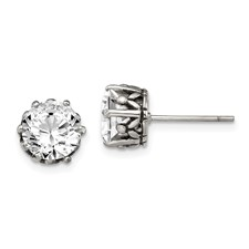 Chisel Stainless Steel Antiqued Round CZ Post Earrings