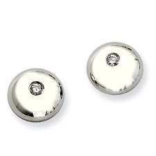 Chisel Stainless Steel Polished CZ Round Post Earrings