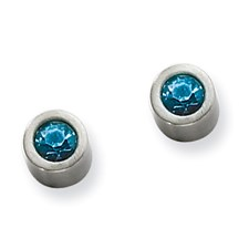 Chisel Stainless Steel Blue CZ Post Earrings