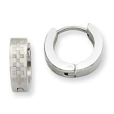 Chisel Stainless Steel Patterened Hinged Hoop Earrings