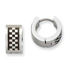 Chisel Stainless Steel Checkerboard Pattern Hinged Hoop Earrings