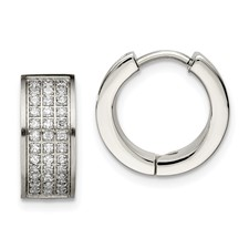 Chisel Stainless Steel Brushed and Polished White CZ Stones Hinged Hoop Earrings