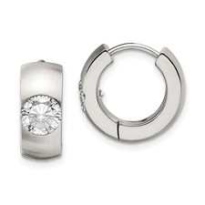 Chisel Stainless Steel CZ Brushed and Polished Round Hinged Hoop Earrings