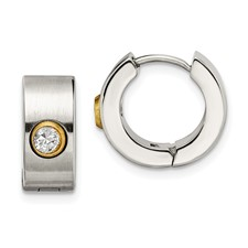 Chisel Stainless Steel Brushed and Polished CZ and Gold-plated Hinged Hoop Earrings