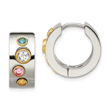 Chisel Stainless Steel Polished Multicolor CZ and Gold-plated Hinged Hoop Earrings