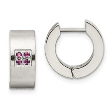 Chisel Stainless Steel Pink CZ Brushed and Polished Round Hinged Hoop Earrings