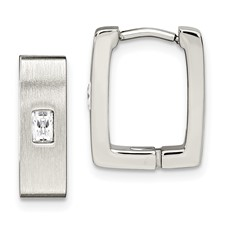 Chisel Stainless Steel Satin CZ Square Hinged Earrings