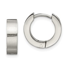 Chisel Stainless Steel Brushed and Polished Round Hinged Hoop Earings