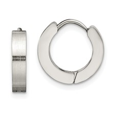 Chisel Stainless Steel Polished Hinged Hoop Earrings
