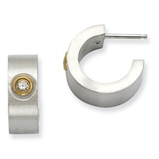 Chisel Stainless Steel Brushed and Polished CZ and IPG Post Hoop Earrings