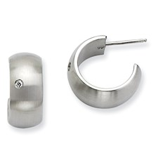 Chisel Stainless Steel CZ Brushed and Polished J Post Hoop Earrings