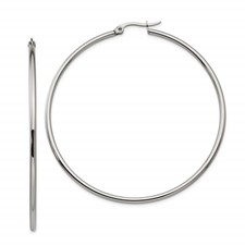 Chisel Stainless Steel Polished 60mm Hoop Earrings