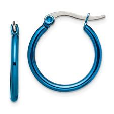 Chisel Stainless Steel Blue 19mm Hoop Earrings