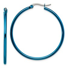Chisel Stainless Steel Blue 42mm Hoop Earrings