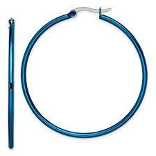 Chisel Stainless Steel Blue 49.5mm Hoop Earrings