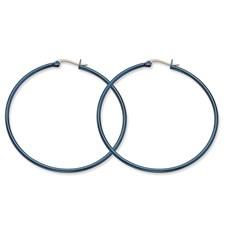 Chisel Stainless Steel Blue 61mm Hoop Earrings